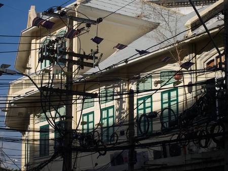 silom: Old house facade in Charoen Krung Road, Silom, Bangkok, Thailand Editorial