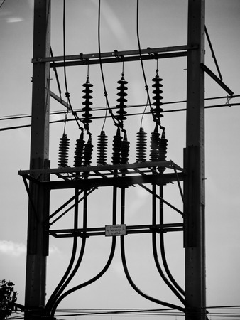 megawatts: Street electric post power line in Thailand