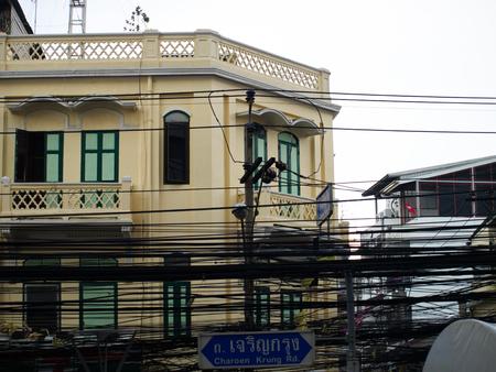 silom: Old house facade in Charoen Krung Road, Silom, Bangkok, Thailand Stock Photo