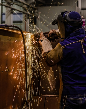 acetylene: Gas cutting of the metal Stock Photo