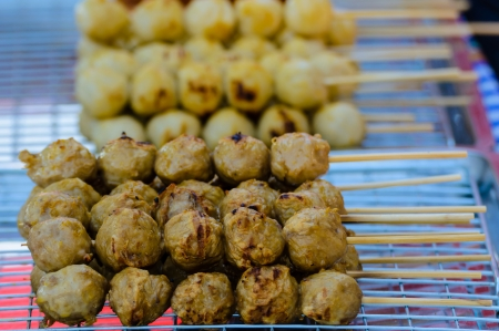 Fired meat balls, thai food photo