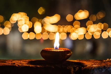 candle light: Candles at asian tammple