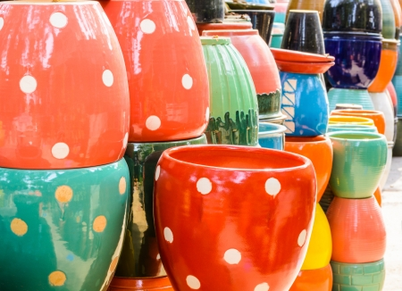 pottery: Colorful of Jardiniere from clay