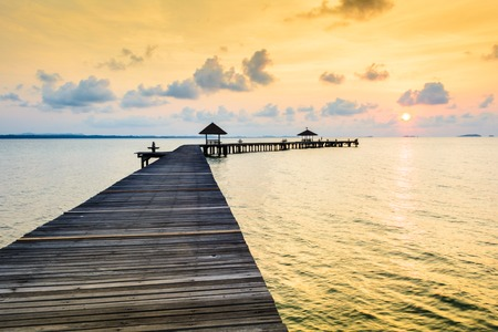 romantics: Bridge on beach in sunrise and sea wave in Rayong, Thailand