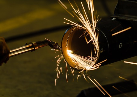 acetylene: Metal cutting with acetylene torch Stock Photo