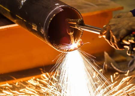 welding metal: Metal cutting with acetylene torch Stock Photo