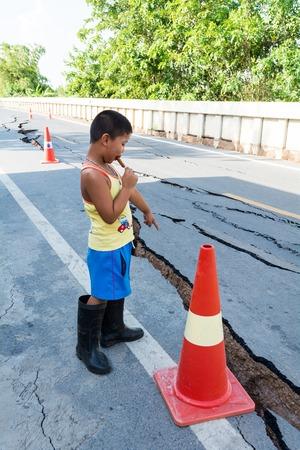 land slide: SARABURI, THAILAND - JULY 12, 2015: road damaged after landslide by drought on July 12, 2015