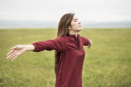 Woman Enjoying Nature, Freedom concept