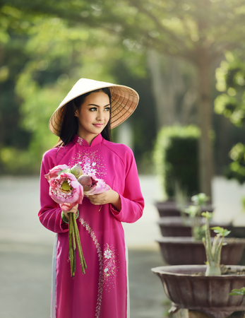 Portrait of Vietnam girls with Lotus