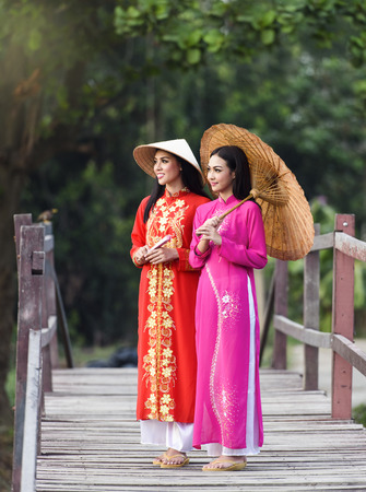 Portrait of beautiful girls with Ao Dai