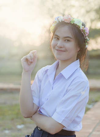A portrait of thai college student Stock Photo