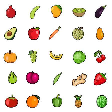 Set of Fresh colorful fruit & vegetables, Organic Vector Set of healthy vegetables & fruits Organic food Illustration for book, poster, magazine, menu, card design