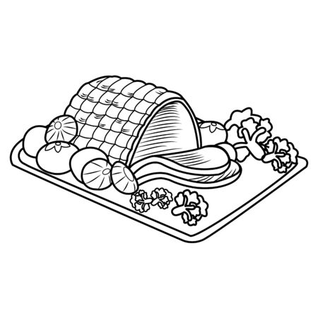 Happy Christmas Special Roasted pork menu, Smoked pork or meat ham sliced with decoration on tray, grilled ham on plate, Image of pork food. Vector illustration.