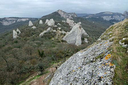 Mountains with dried grass and thorny bushes in the winter Crimea