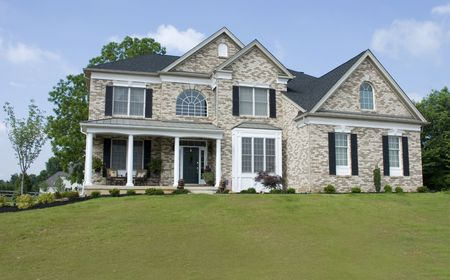 realty residence: Nice Brick House on Hill Stock Photo