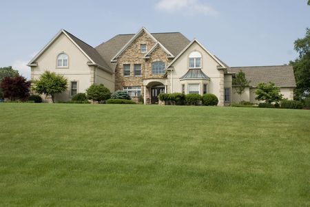 realty residence: House with Green field in front for copy.