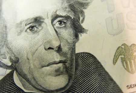 20 Dollar Bill Close Up Stock Photo