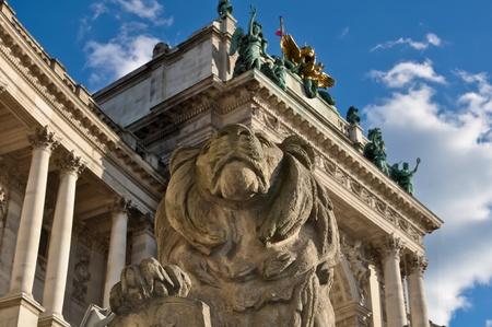 stenen leeuw sculptuur bewaken van Wenen nationale bibliotheek