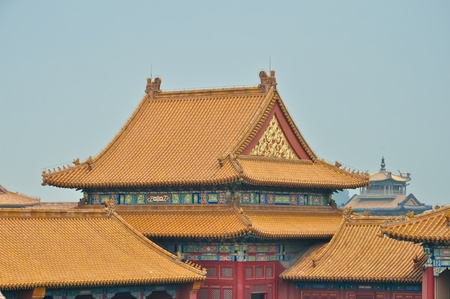 view over colorful chinese roofs in beijings forbidden city Stock Photo - 10447951