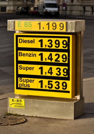 benzin: display of rising fuel prices at an austrian service station