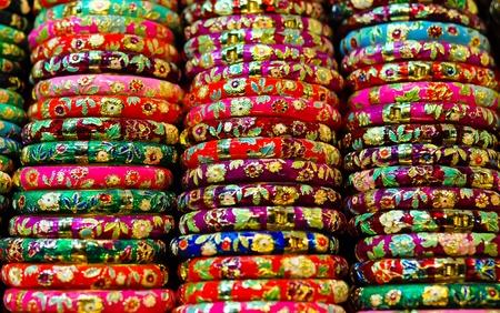 bangle: closeup on colorful bracelets for sale on a street market