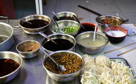 asian noodle: assorted ingredients for a spicy asian noodle soup Stock Photo