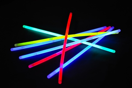 glow stick: a variation of different colored chem lights Stock Photo