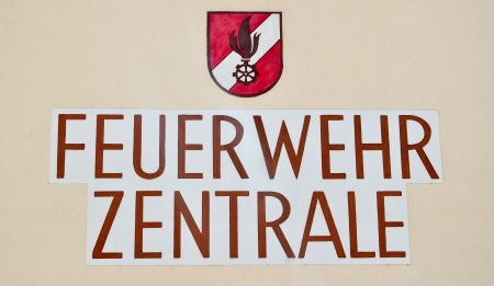 german inscription saying  feuerwehr zentrale  meaning fire department Stock Photo - 13871900