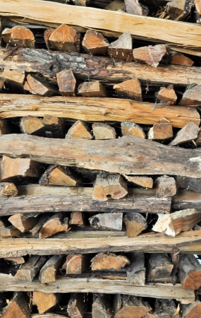 neatly stacked: neatly stacked logs of firewood  Stock Photo