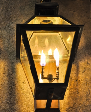 gas lamp: antique cast iron gas lantern with dual flames