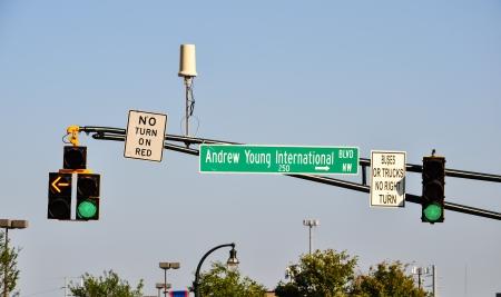 street sign with traffic light and cctv camera in atlanta, georgia photo
