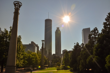atlanta skyline with a bright lens flare photo