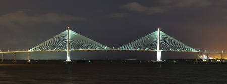 suspended bridge in charleston, sc at night photo