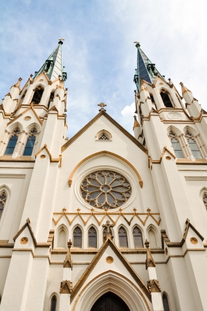 baptist: Details of Cathedral of St  John the Baptist in Savannah, Georgia