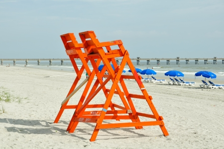 lifeguard tower: lifeguard chairs on the beach