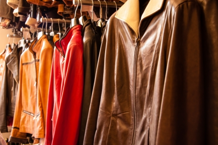 leather jackets on a rack