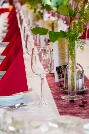 glasses and silverware at a wedding table Stock Photo
