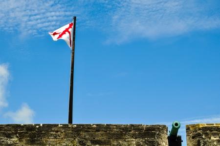 vlag van een kanon op historische fort Castillo des San Marcos in St. Augustine, Florida Stockfoto