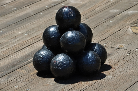 old age cannonballs stacked in pyramid form Stock Photo