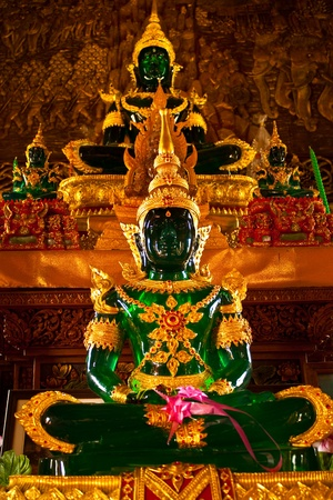 an emerald buddha image in a thai temple Stock Photo