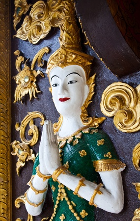 angel stucco in thai temple photo