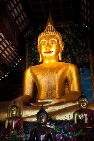 Bhudda statue  in Au-Mong-Thain-Chan temple,Chiangmai, Thailand (Generality in Thailand,any kind of art decorated in temple created with  money donated by people to hire artist. They are public domain or treasure of Buddhism,  no restrict in copy or use)