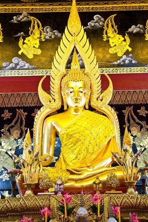 Phra Buddha Chinnarat in Phan-Aon temple,Chiangmai,Thailand (Generality in Thailand,any kind of art decorated in temple created with  money donated by people to hire artist. They are public domain or treasure of Buddhism,  no restrict in copy or use)