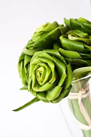 Roses made from Pandanus leaf Stock Photo