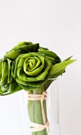 pandanus tree: Roses made from Pandanus leaf Stock Photo