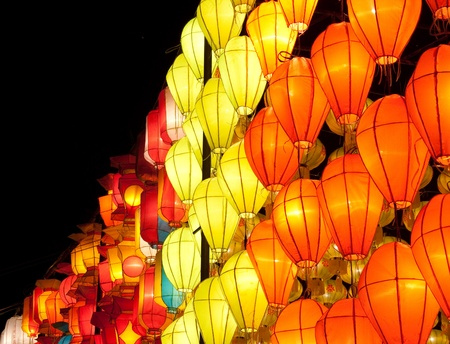 asian lantern in the nighttime photo