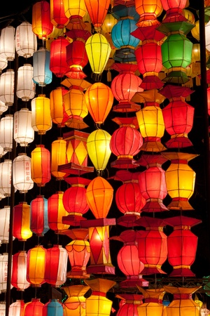 asian lantern in the nighttime