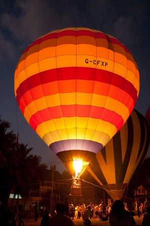 floating of hotair balloon tethering
