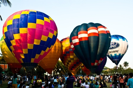 atmosphere of hot air balloon festival in Thailand International Ballon Festival 2011