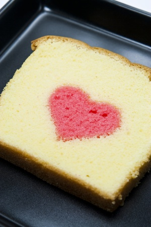 heart in a butter cake Stock Photo